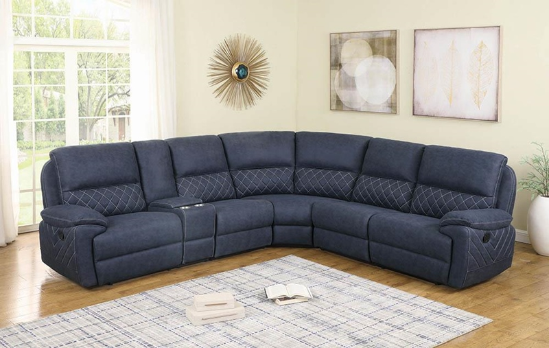 Variel Living Room Motion Sectional in Blue