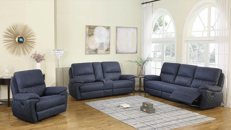 Variel Living Room Set in Blue