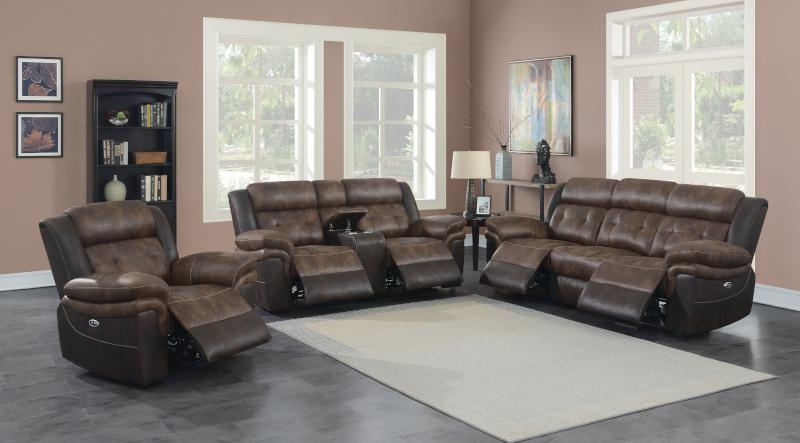 Saybrook Power Reclining Living Room Set in Chocolate
