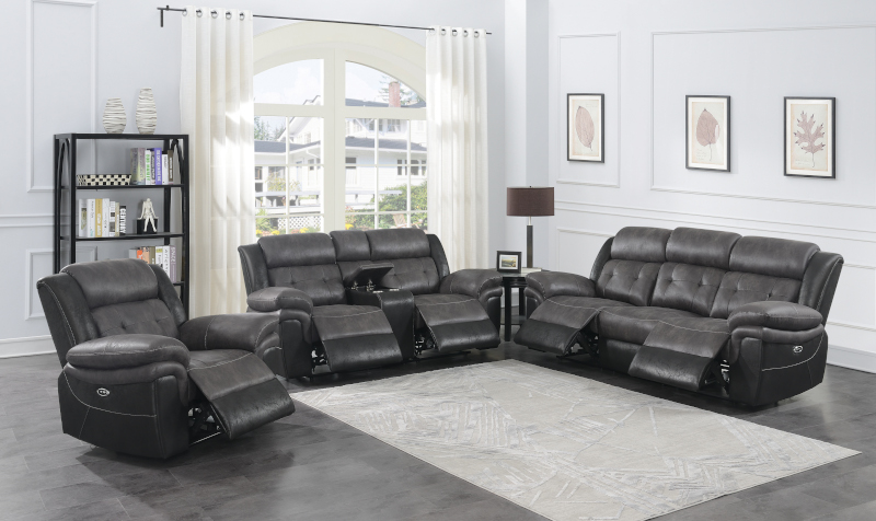 Saybrook Power Reclining Living Room Set in Charcoal