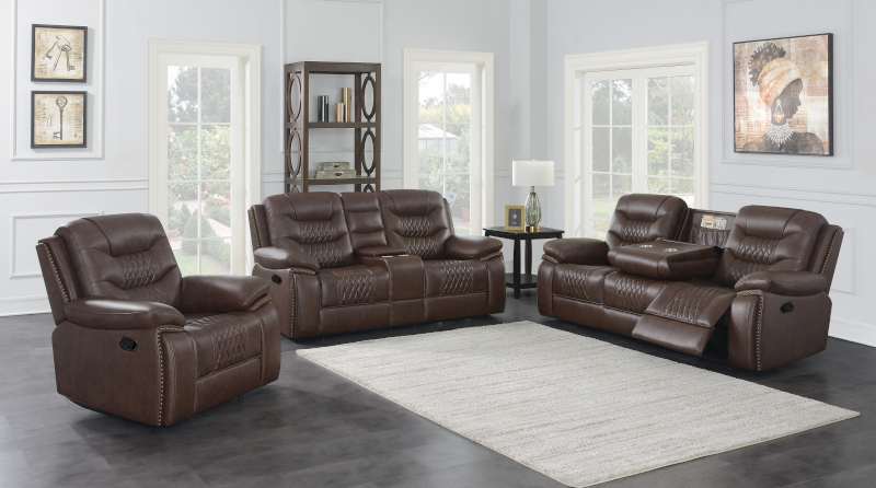 Flamenco Reclining Living Room Set in Brown