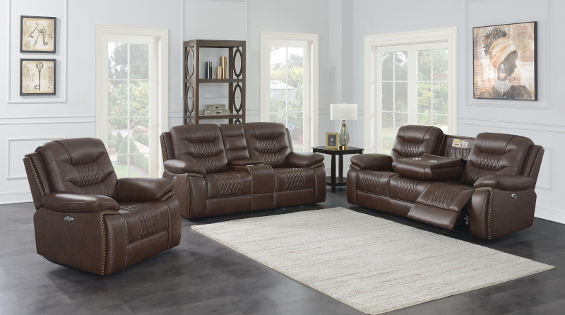 Flamenco Power Reclining Living Room Set in Brown
