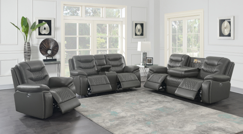 Flamenco Power Reclining Living Room Set in Charcoal