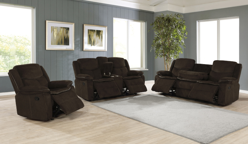 Jennings Reclining Living Room Set in Brown