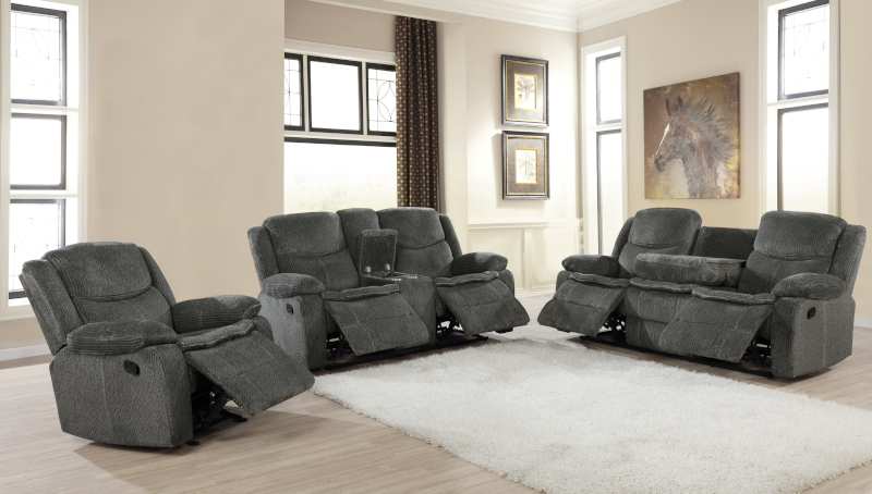 Jennings Reclining Living Room Set in Charcoal