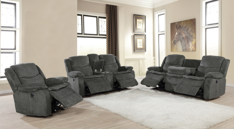 Jennings Power Reclining Living Room Set in Charcoal