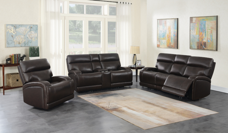 Longport Reclining Leather Living Room Set in Brown