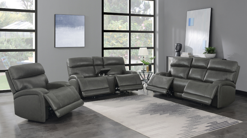 Longport Reclining Leather Living Room Set in Charcoal