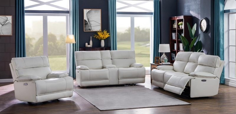 Stanford Power Motion Living Room Set in White