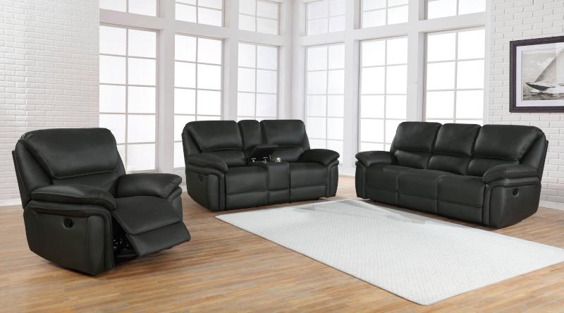Breton Reclining Living Room Set in Charcoal