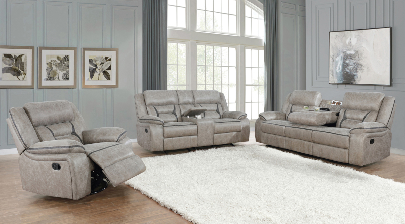 Greer Reclining Living Room Set in Taupe