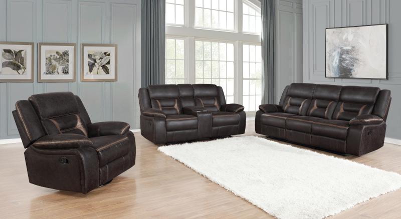 Greer Reclining Living Room Set in Dark Brown