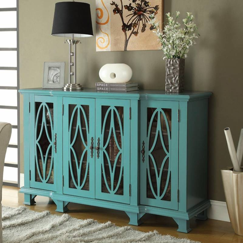 Teal Blue Accent Cabinet