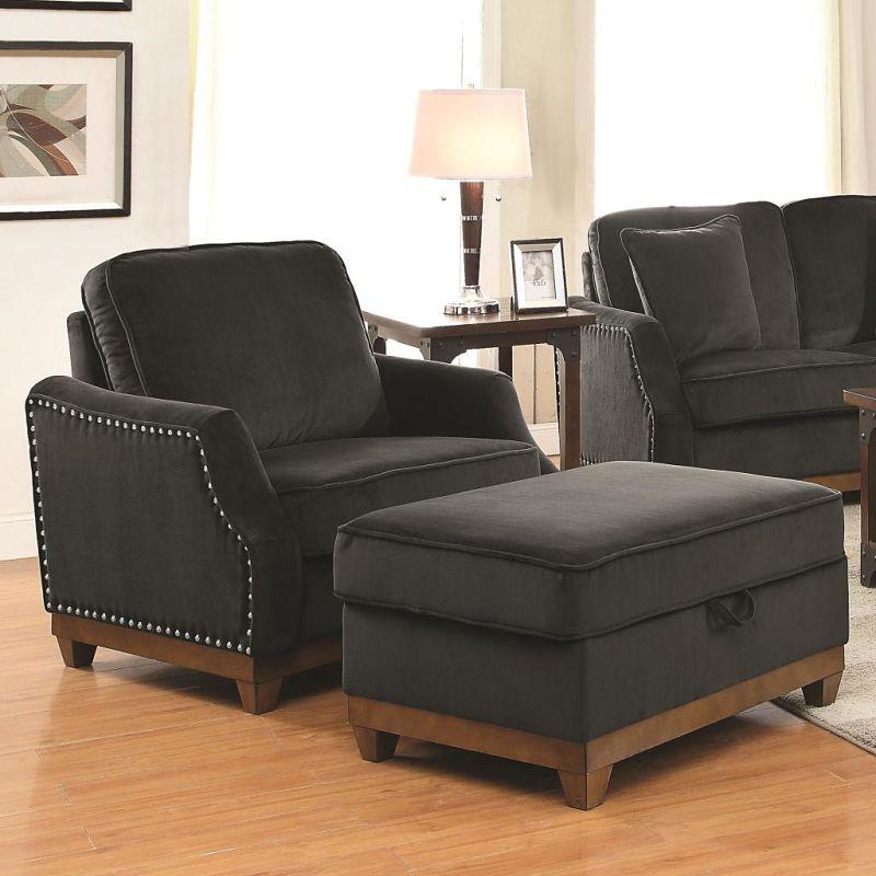 Dallas Designer Furniture Acklin Living Room Set In Charcoal