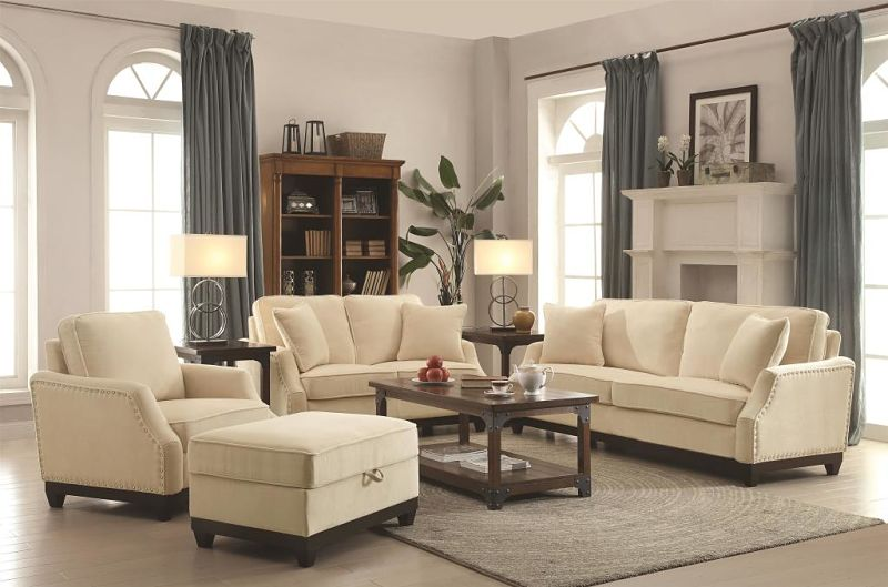 Acklin Living Room Set in Beige
