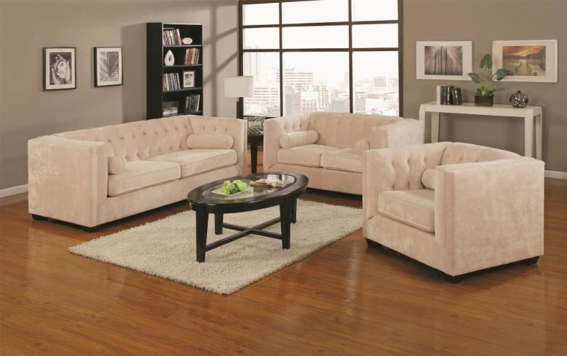 Alexis Living Room Set in Almond