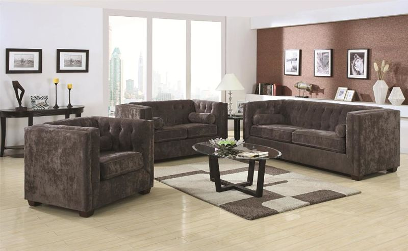 Alexis Living Room Set in Charcoal