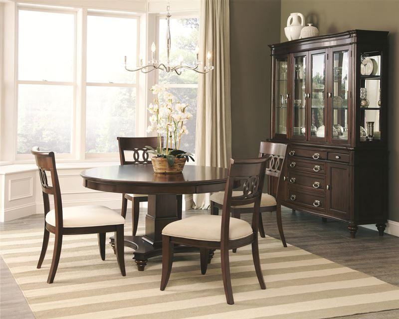 formal dining room set with round table alyssa formal dining room set ...