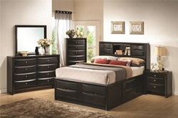 Briana Black Bedroom Set with Large Storage Bed