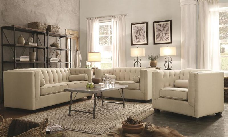 Cairns Tuxedo Living Room Set in Oatmeal