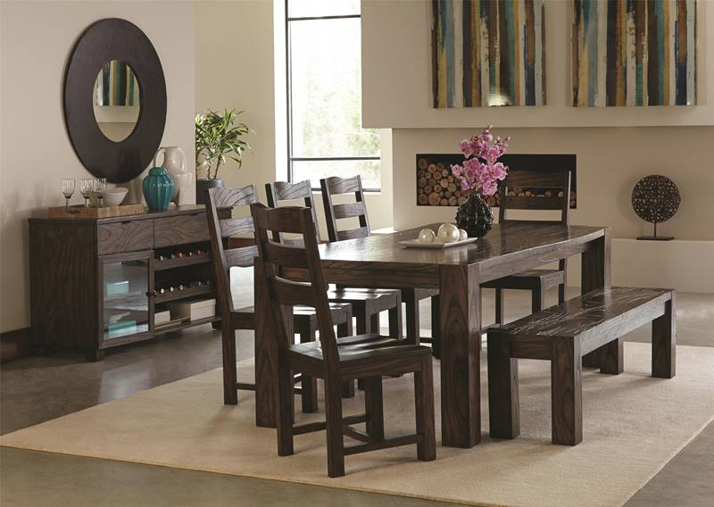 Calabasas Rustic Dining Table Set with Bench