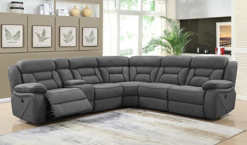 Carmague Reclining Sectional in Grey