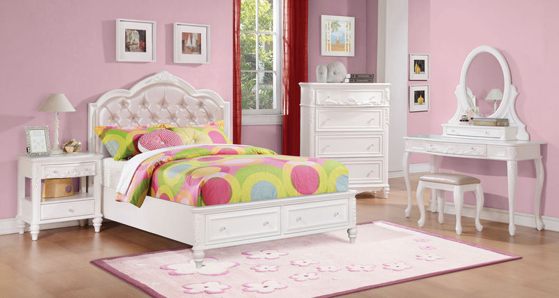 Caroline Youth Bedroom Set with Storage Bed in White