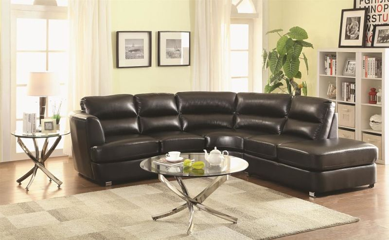 Chaisson Leather Sectional in Black