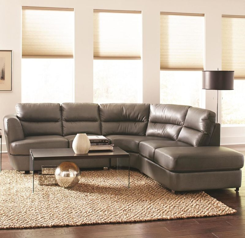Chaisson Leather Sectional in Grey