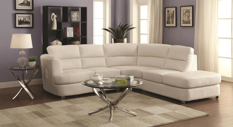 Chaisson Leather Sectional in White