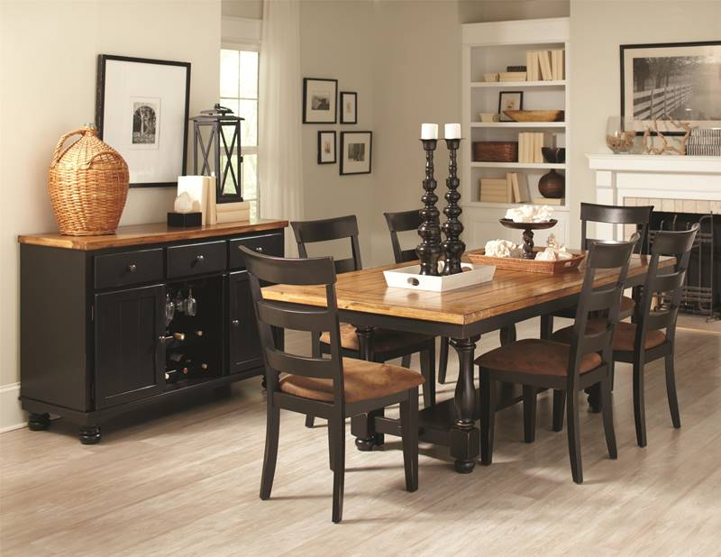 Charlotte Black with Wood Rustic Kitchen Table Set