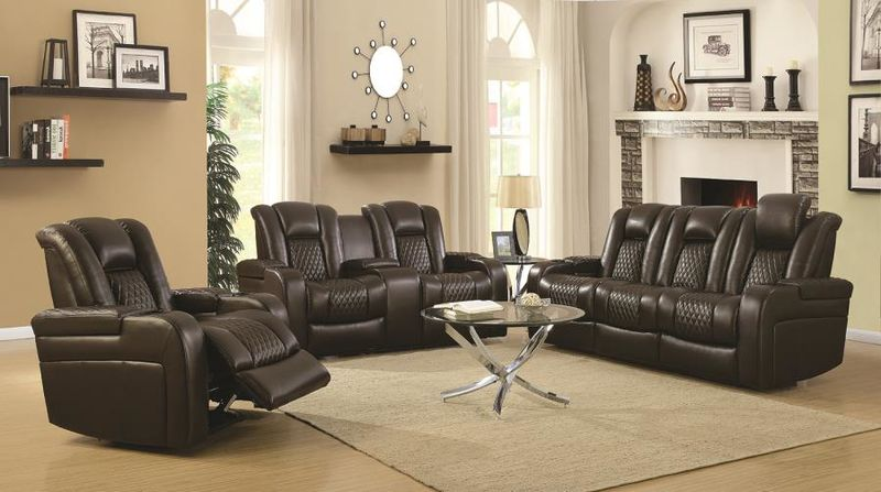 Delangelo Hi-Tech Reclining Living Room Set in Brown