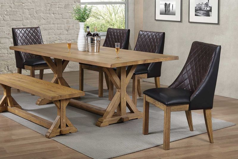 Douglas Dining Room Set with Bench with Brown Chairs