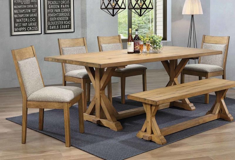 Douglas Dining Room Set with Bench with Oatmeal Chairs