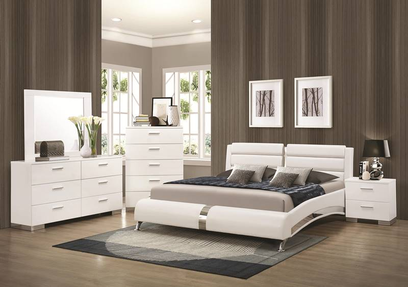 Coaster 300345 Felicity Glossy White Bedroom Set With