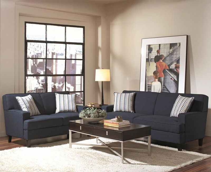 finley living room set in ink blue - Blue Living Room Set