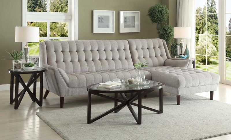 Natalia Mid Century Sectional in Grey