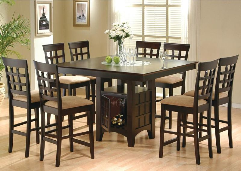 Gabriel Counter Height Table Set with Storage Base in Cappuccino & Dallas Designer Furniture | Gabriel Counter Height Table Set with ...