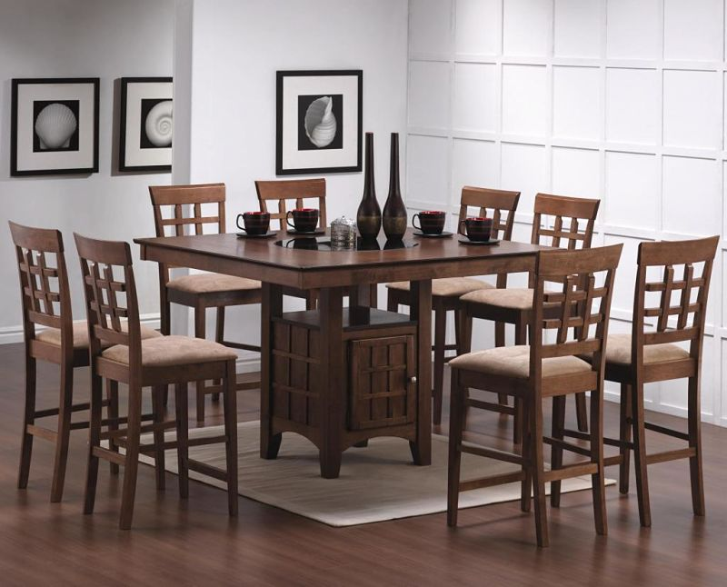 Gabriel Counter Height Table Set with Storage Base in Chestnut