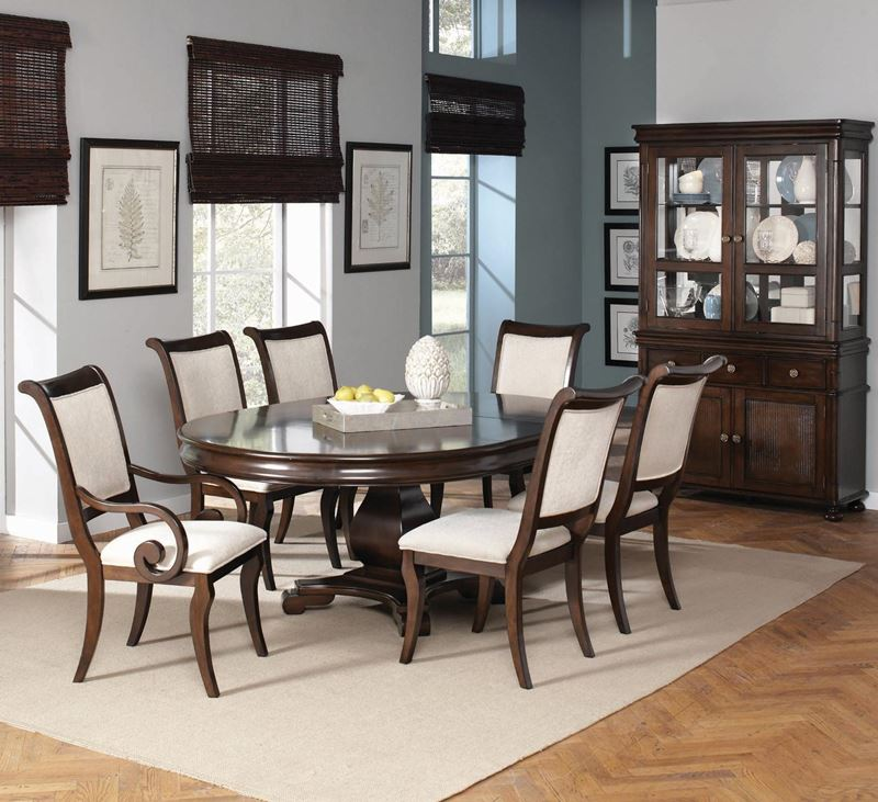 Harris formal dining room set with round to oval table for Formal dining room furniture sets