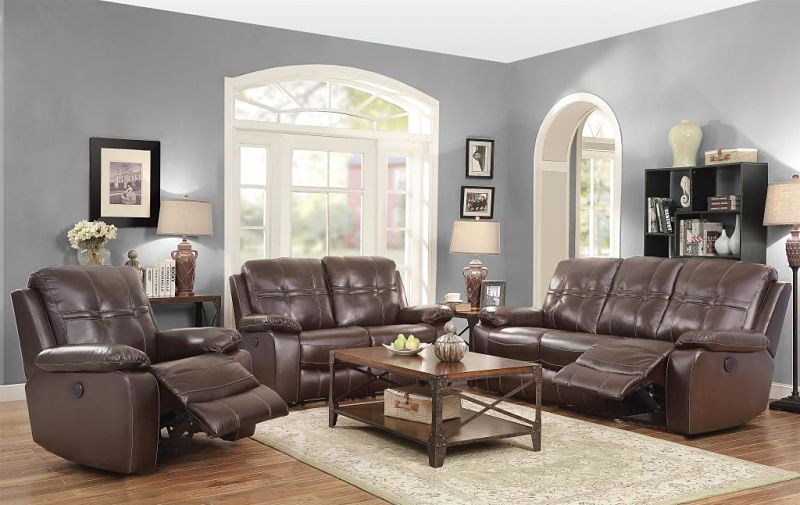 Holloway Leather Reclining Living Room Set with Power Motion