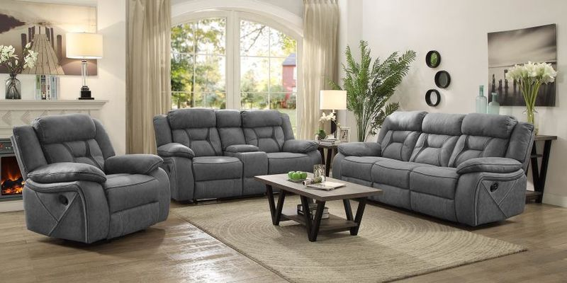 Houston Reclining Living Room Set in Stone