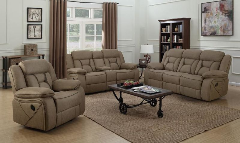Houston Reclining Living Room Set in Tan
