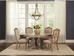 Ilana Formal Round Dining Room Set in Linen