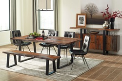 Jamestown Dining Room Set with Bench and Charcoal Chairs