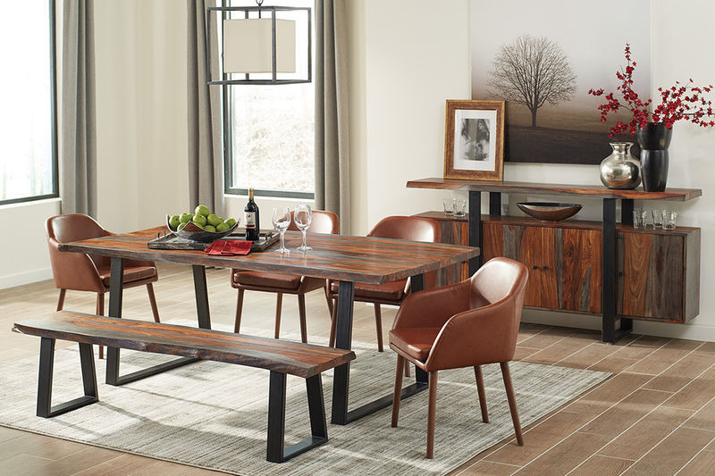 Jamestown Dining Room Set with Bench and Cognac Chairs
