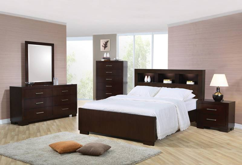 Jessica Cappuccino Bedroom Set with Bookcase Headboard