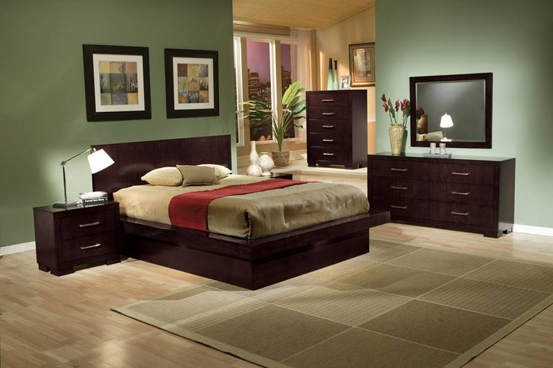 Jessica Cappuccino Bedroom Set with Platform Bed and Mood Lighting
