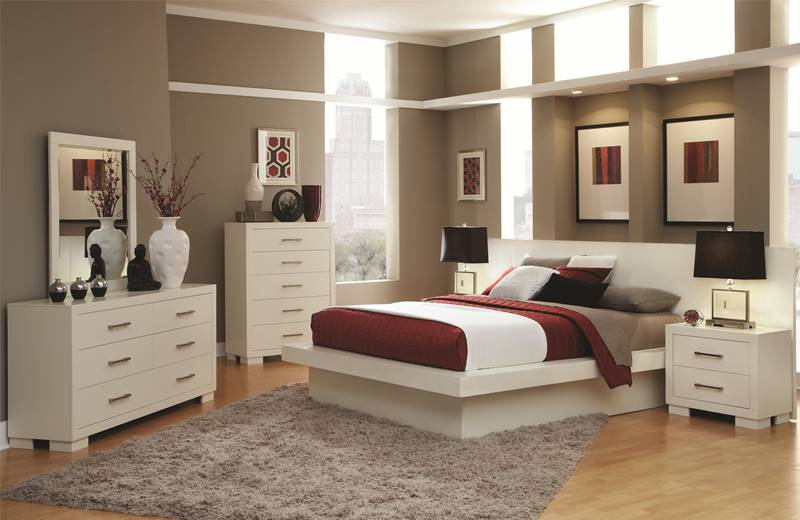Jessica White Bedroom Set with Platform Bed and Mood Lighting