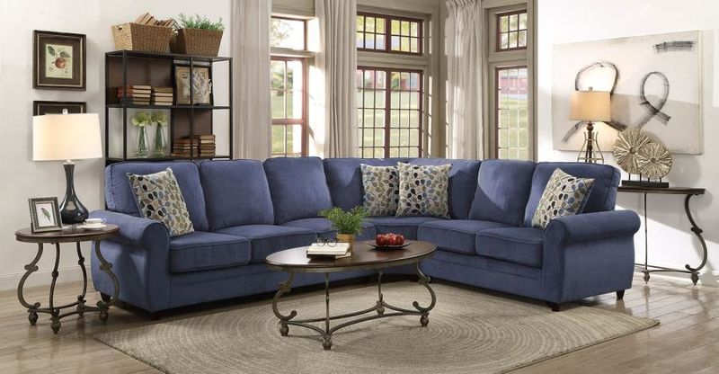 Kendrick Sectional with Sleeper Sofa in Blue